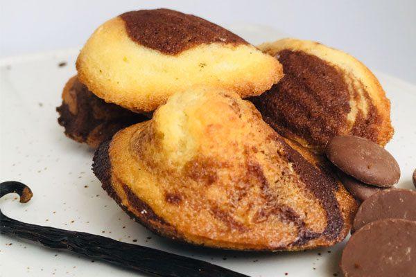 madeleine marbrées chocolat vanille